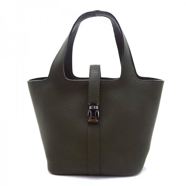 RINA [OLIVE限定色] ドイツ産シュリンクレザー 本革ミニトートバッグ