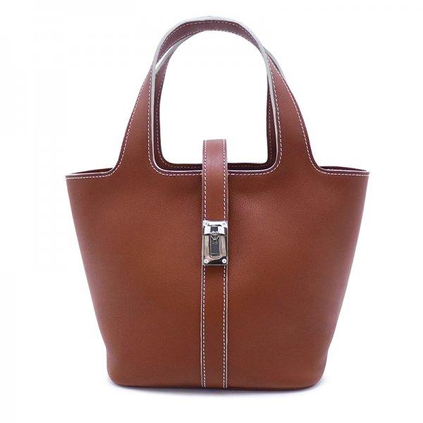 RINA [BROWN限定色] ドイツ産スムースレザー 本革ミニトートバッグ