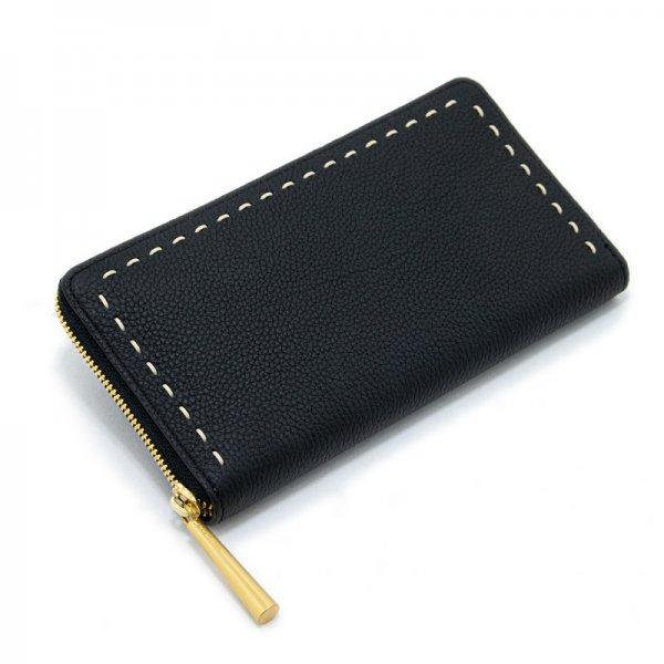 SAHO [BLACK] シュリンクレザー・エスポワール 本革ラウンドファスナー長財布 日本製