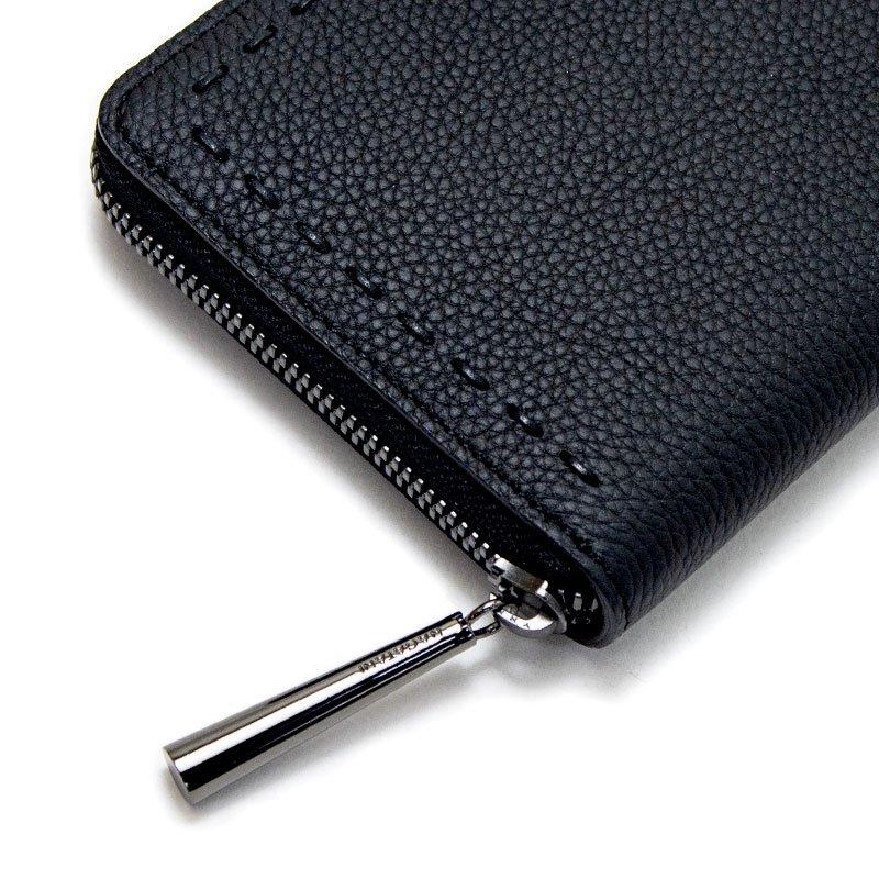 SAHO [BLACK×BLACK限定色] シュリンクレザー・エスポワール 本革ラウンドファスナー長財布 日本製