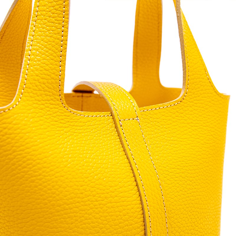 RINA [YELLOW限定色] ドイツ産シュリンクレザー 本革ミニトートバッグ 日本製