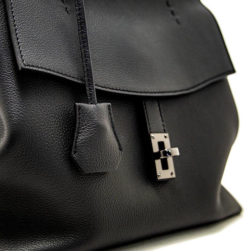 【先行予約商品】ELISABETH [BLACK] シュリンクレザー・スプレス 本革ハンドバッグ 日本製