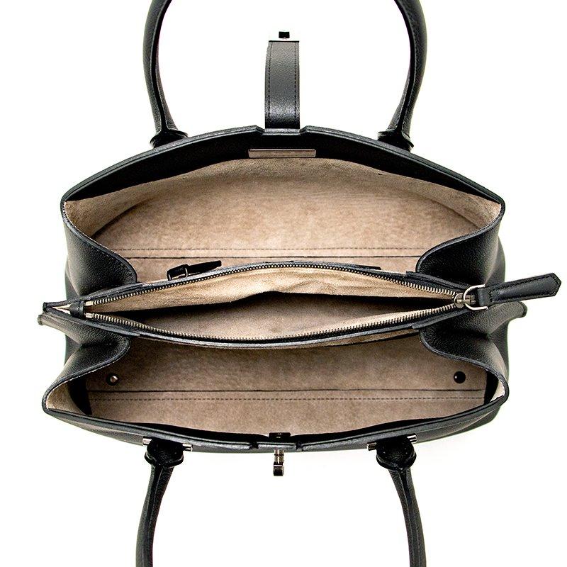 MATHILDE [BLACK] シュリンクレザー・スープレス 本革ハンドバッグ 日本製
