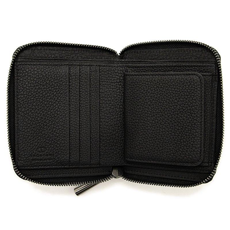 BONNY [BLACK x BLACK限定色] シュリンクレザー・エスポワール 本革ラウンドファスナー二つ折財布 日本製