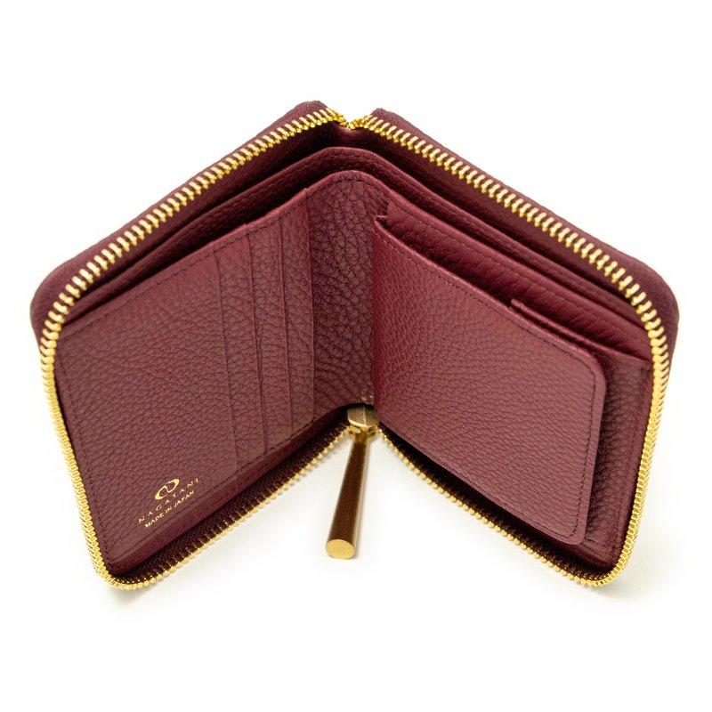 BONNY [MAROON 限定色] シュリンクレザー・エスポワール 本革ラウンドファスナー二つ折財布 日本製
