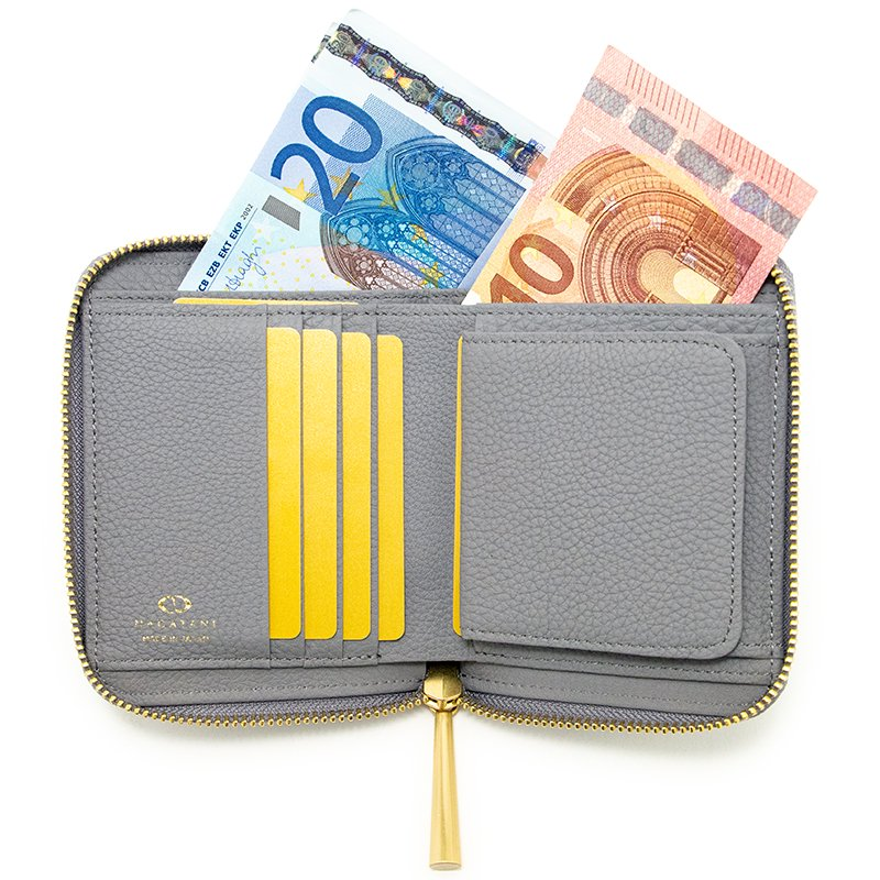 BONNY [LIGHT-GRAY 限定色] シュリンクレザー・エスポワール 本革ラウンドファスナー二つ折財布 日本製