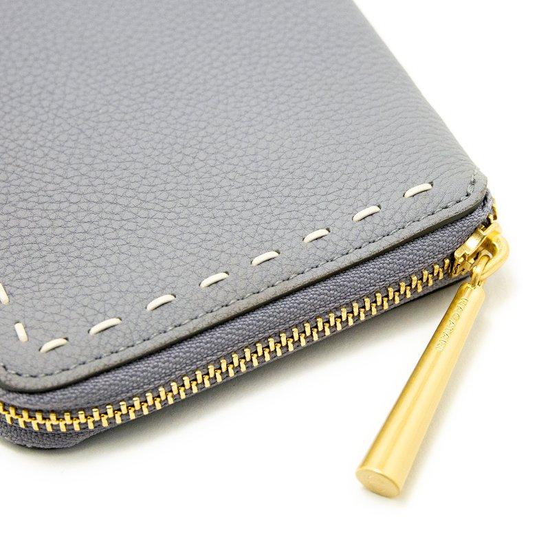 BONNY [LIGHT GRAY限定色] シュリンクレザー・エスポワール 本革ラウンドファスナー二つ折財布 日本製