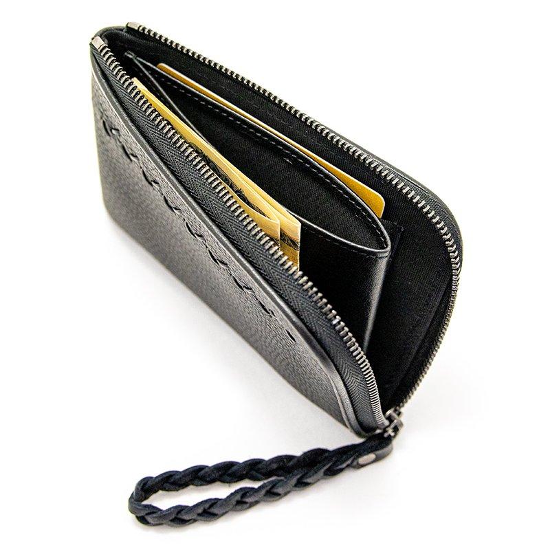 JULIETTE [BLACK] シュリンクレザー・エスポワール 本革スモールウォレット・Lファスナーミニ財布 日本製