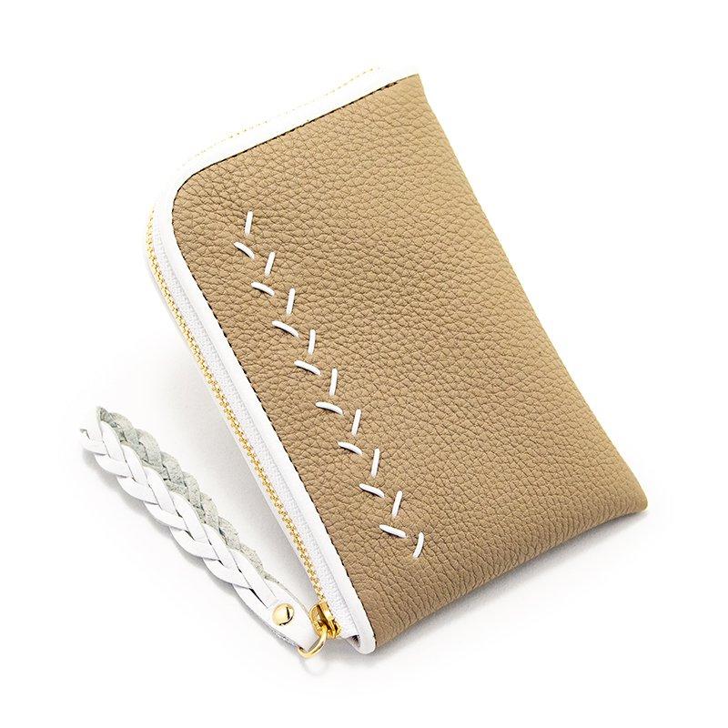 JULIETTE [BEIGE] シュリンクレザー・エスポワール 本革スモールウォレット・Lファスナーミニ財布 日本製