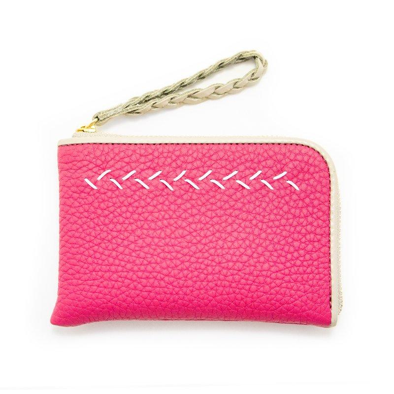 JULIETTE [ROYAL-PINK] シュリンクレザー・エスポワール 本革スモールウォレット・Lファスナーミニ財布 日本製