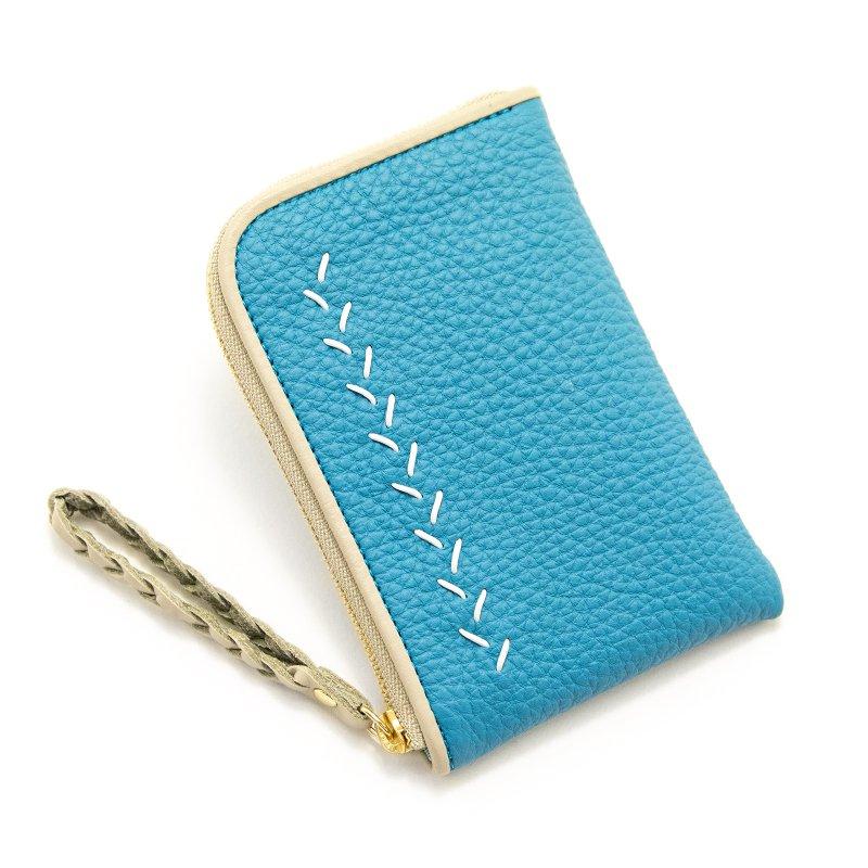 JULIETTE [CYAN] シュリンクレザー・エスポワール 本革スモールウォレット・Lファスナーミニ財布 日本製