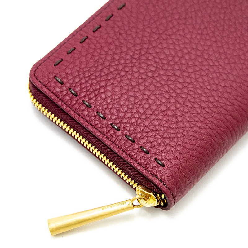 SAHO [MAROON 限定色] シュリンクレザー・エスポワール 本革ラウンドファスナー長財布 日本製