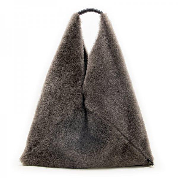 LUMI [GRAY] 本革もふもふムートン(羊革) 三角バッグ