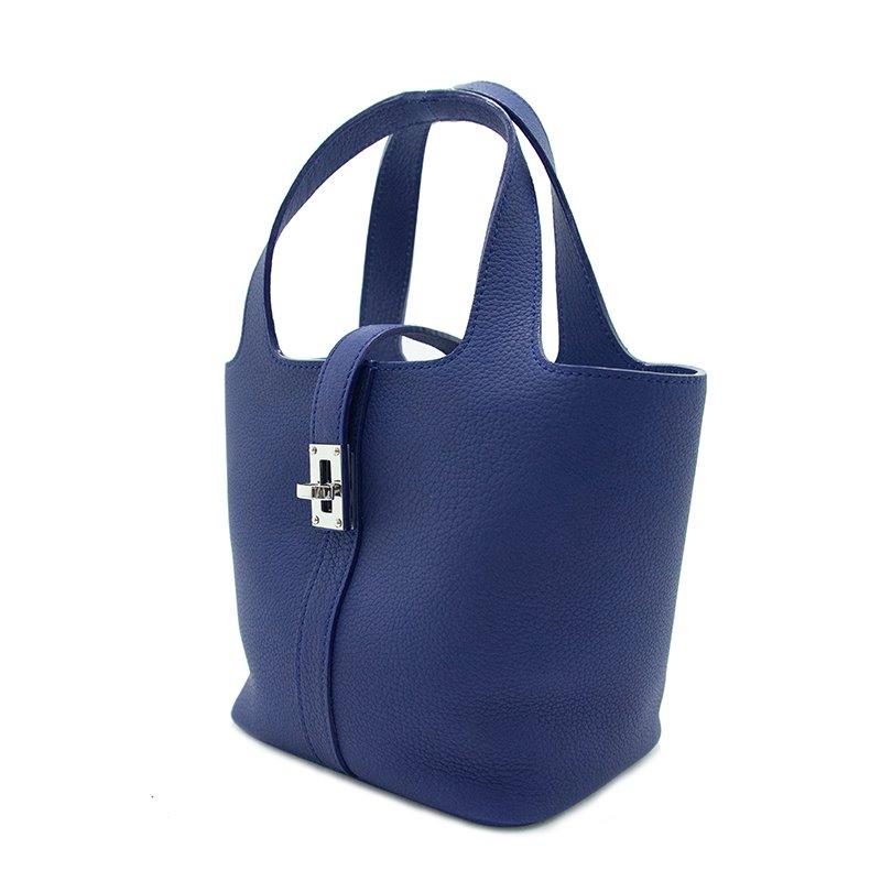 RINA [BLUE限定色] ドイツ産シュリンクレザー 本革ミニトートバッグ 日本製