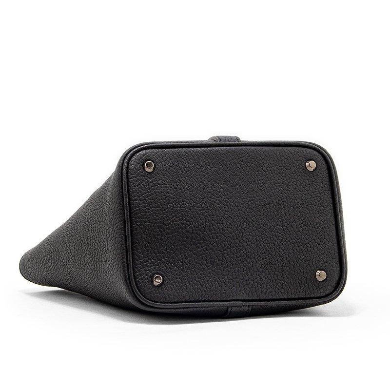 RINA [BLACK 限定色] ドイツ産シュリンクレザー 本革ミニトートバッグ 日本製