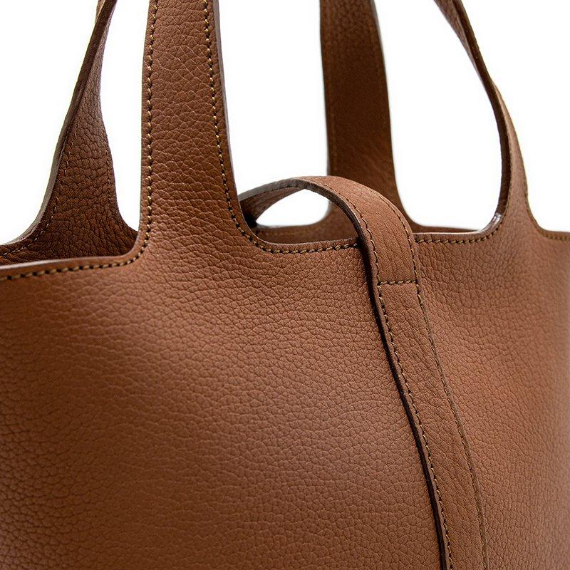 RINA [BROWN 限定色] ドイツ産シュリンクレザー 本革ミニトートバッグ 日本製