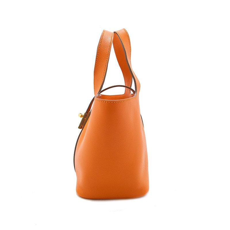 RINA [ORANGE 限定色] フランス産スムースレザー 本革ミニトートバッグ 日本製