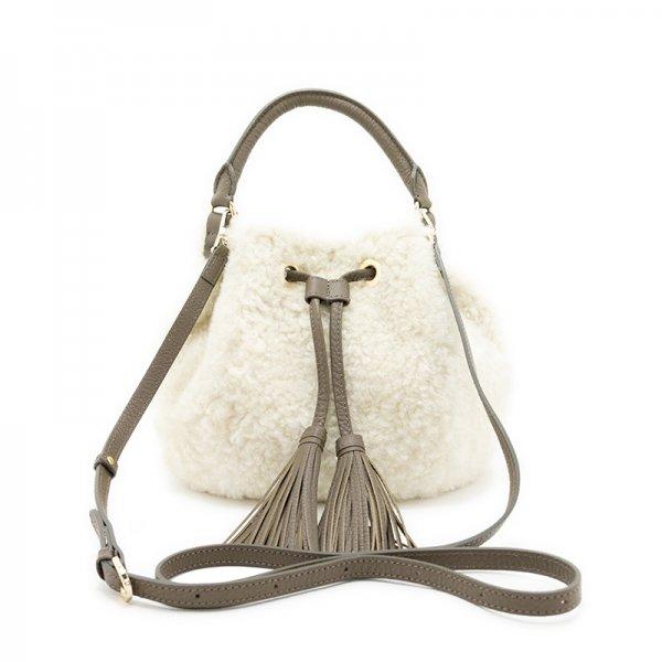FLUFFY [IVORY] 本革もふもふムートン(羊革) 巾着バッグ