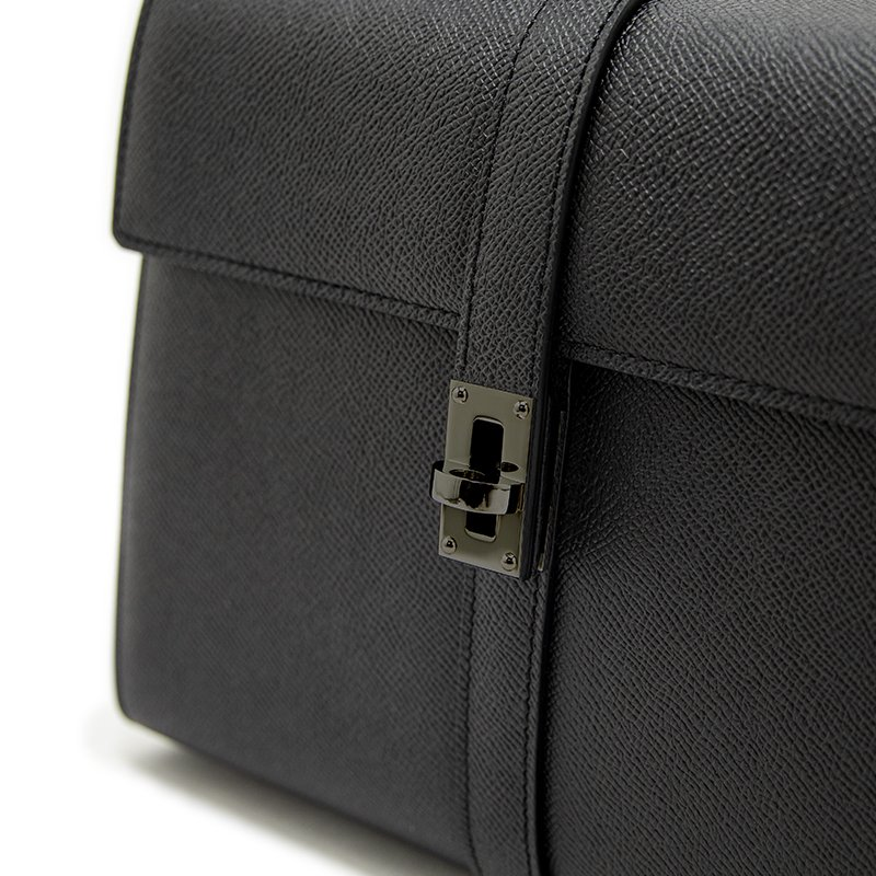 M [GUNMETAL] ワープロルクス・カーフ型押しレザー 本革フォーマルバッグ 日本製