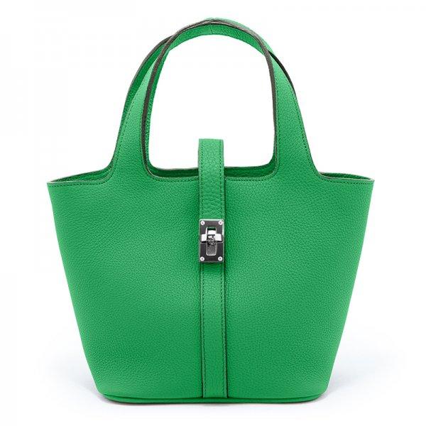 RINA [GREEN] シュリンクレザー・エスポワール 本革ミニトートバッグ 日本製