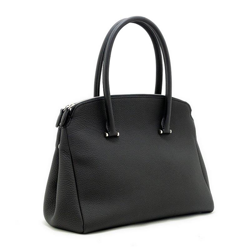 MONA [BLACK] シュリンクレザー・エスポワール 本革ダブルファスナーバッグ 日本製