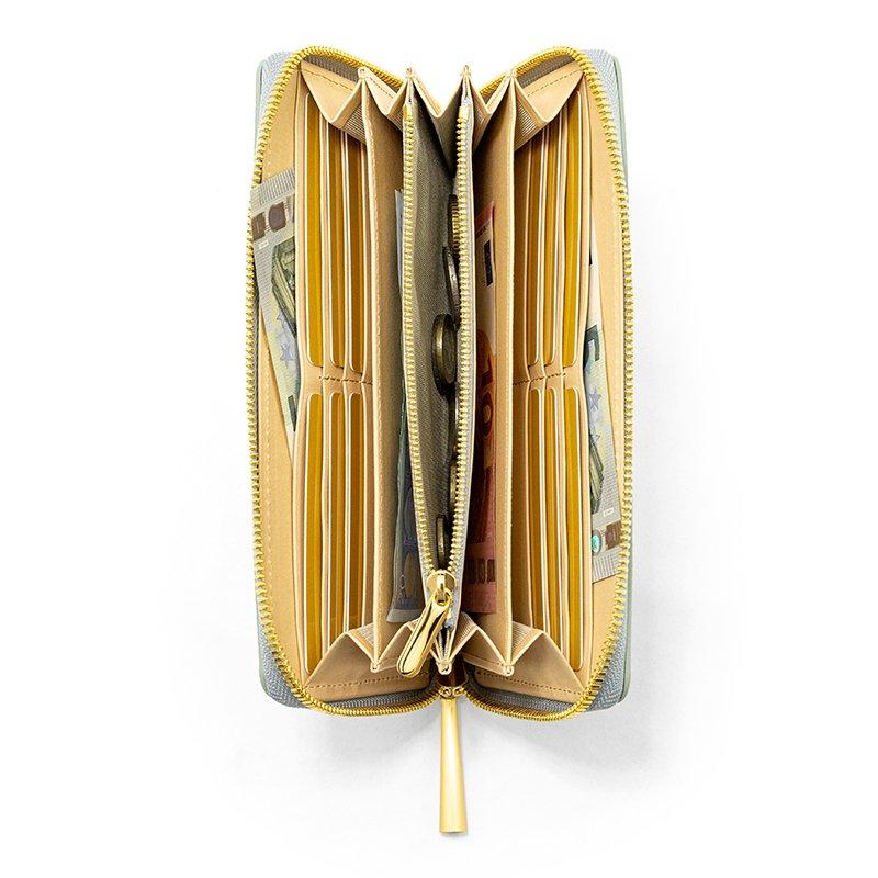 SAHO [CHELSEA GRAY 限定色] シュリンクレザー・エスポワール 本革ラウンドファスナー長財布 日本製