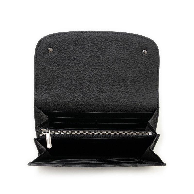 LILY [BLACK×BLACK 限定色] シュリンクレザー 本革かぶせ式(エンヴェロップ型)長財布 日本製