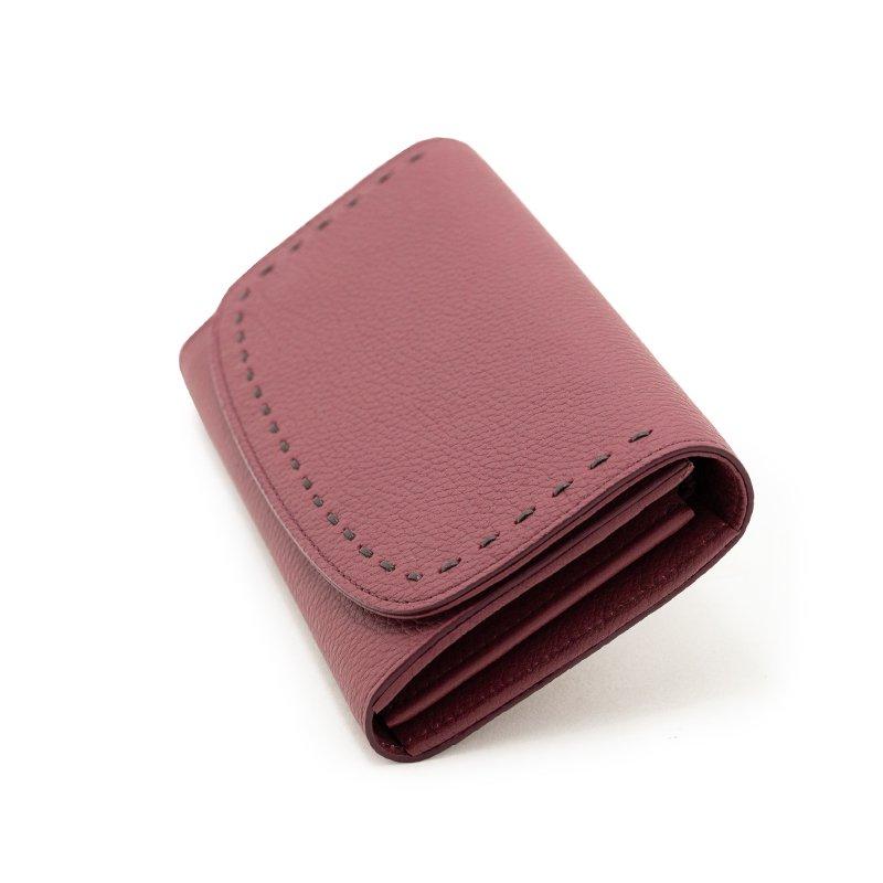 LILY [MAROON 限定色] シュリンクレザー 本革かぶせ式(エンヴェロップ型)長財布 日本製
