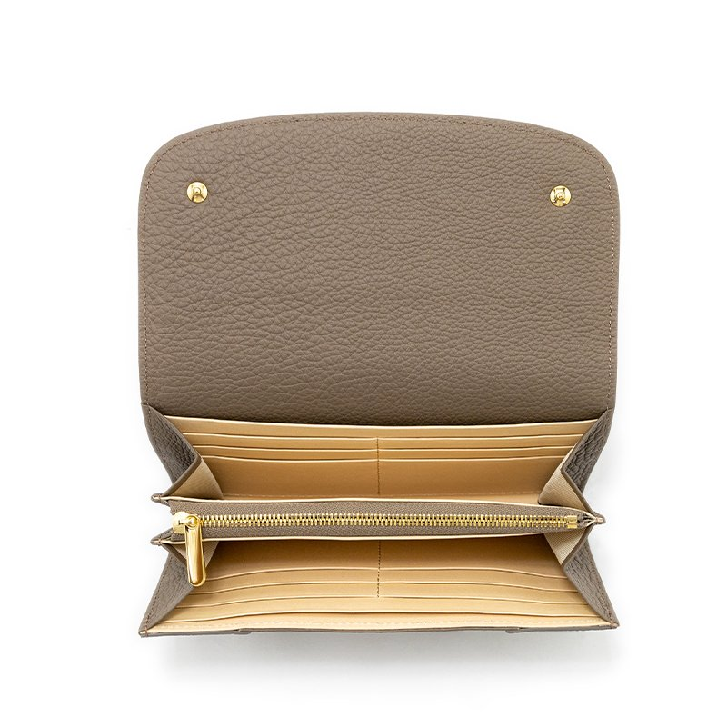 LILY [OAK 限定色] シュリンクレザー 本革かぶせ式(エンヴェロップ型)長財布 日本製
