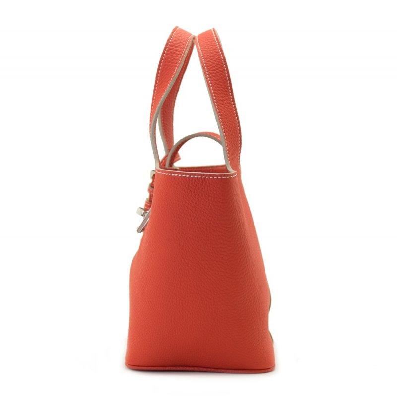 RINA [ORANGE-RED] シュリンクレザー・エスポワール 本革ミニトートバッグ 日本製