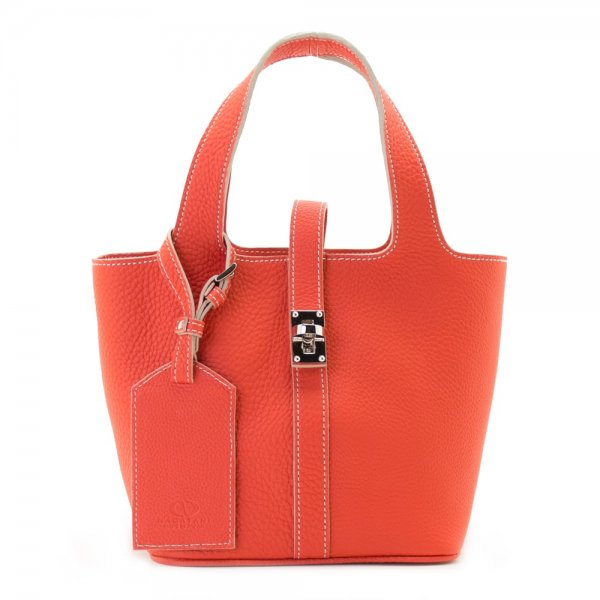 RINA [ORANGE-RED] シュリンクレザー・エスポワール 本革ミニトートバッグ