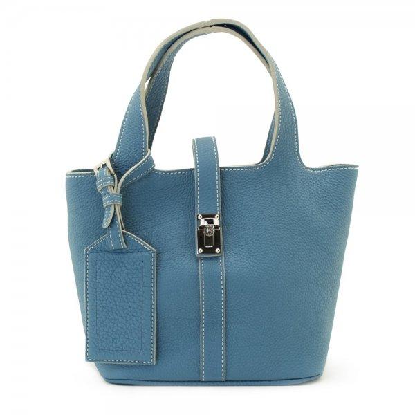 日本製 RINA [BLUE] 最高級シュリンクレザー・エスポワール 本革ハンドバッグ・ミニトート