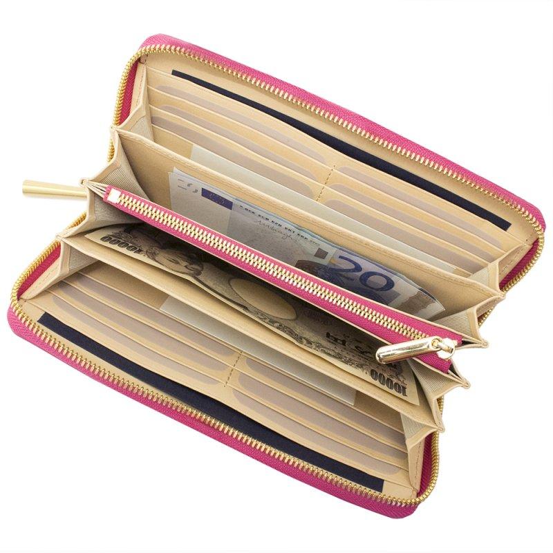 SAHO [ROYAL-PINK] シュリンクレザー・エスポワール 本革ラウンドファスナー長財布 日本製