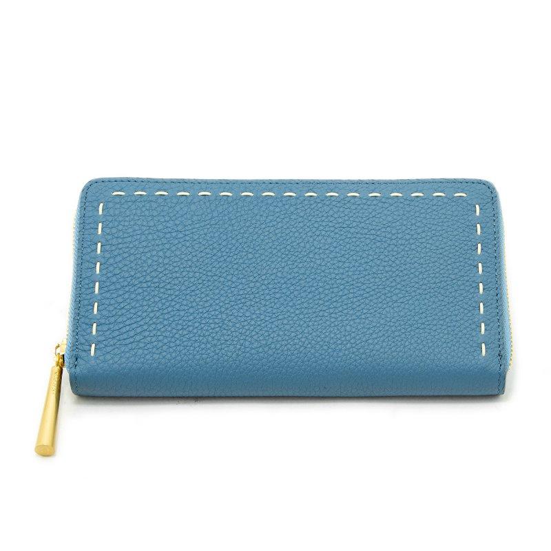 日本製 SAHO [SKYBLUE] シュリンクレザー ラウンドファスナー 長財布
