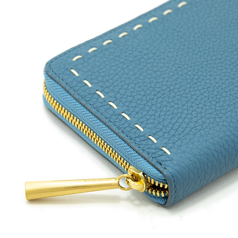 SAHO [SKYBLUE] シュリンクレザー 長財布 日本製