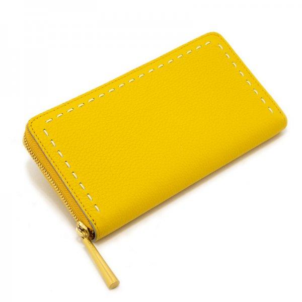 SAHO [YELLOW] シュリンクレザー・エスポワール 本革ラウンドファスナー長財布 日本製