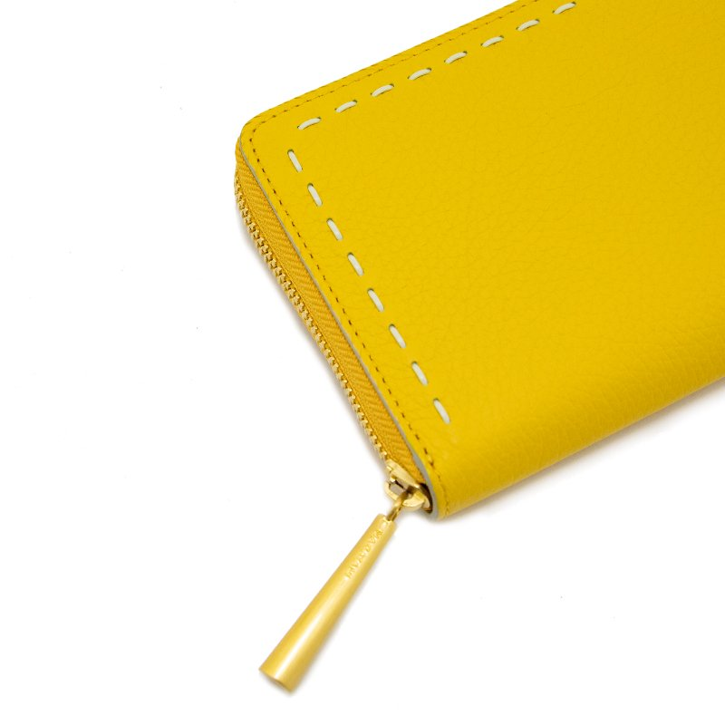 SAHO [YELLOW] シュリンクレザー長財布 日本製
