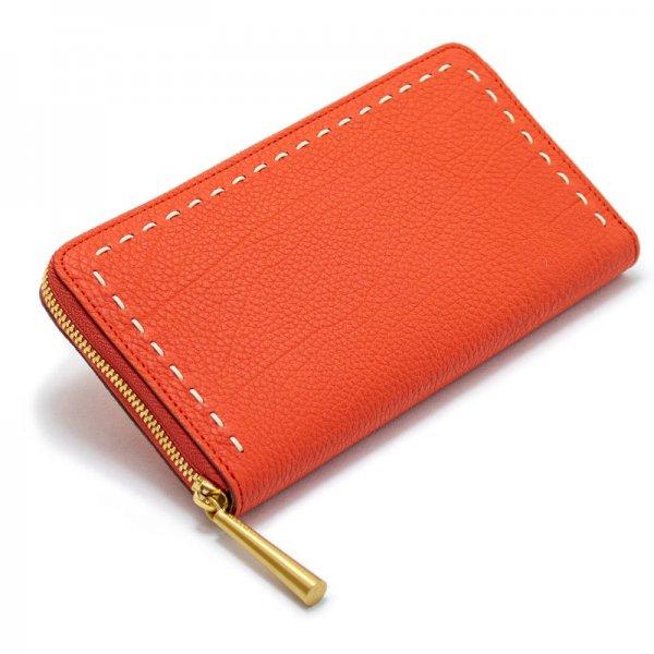 SAHO  [ORANGE-RED 限定色] シュリンクレザー・エスポワール 本革ラウンドファスナー長財布