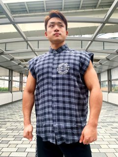 メンズ  Sleeveless Plaid TOP