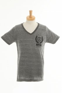 メンズ  Royal crest stealth color Cotton V-Neck Slim Fit T