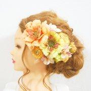結婚式ドレス・和装・成人式の髪飾りに。オレンジとグリーンのジニア・ヘリクリサム・紫陽花のヘッドドレス
