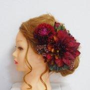 結婚式和装・成人式・卒業式の髪飾りに。ボルドーのダリア・マムのヘッドドレス
