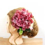 1点限り【アーティフィシャル】成人式・卒業式・結婚式和装の髪飾りに。モーヴピンクの芍薬とクリスマスローズのヘッドドレス
