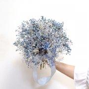 【プリザーブドフラワー】アンティークな雰囲気ブルーグレーのかすみ草クラッチブーケ&ブートニア