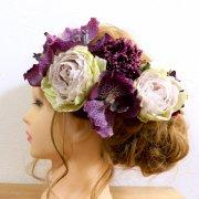 【アーティフィシャル】シックビューティ バンダランとバラとスカビオサの紫ヘッドドレス