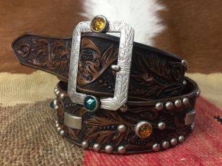 Hand Carving Leather Belt  W/ Vintage Studded