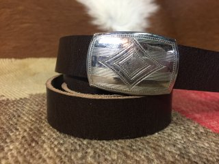 1920's Deadstock Old Buckle Brown Leather Belt