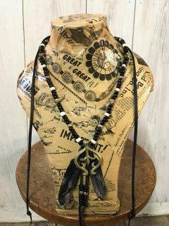 ナバホ ナジャ ブラックフェザー&ビーズネックレス / Navajo Naja Black Feather Necklace