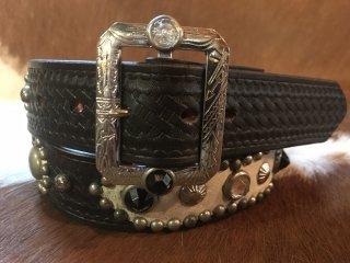 スタッズベルト・30's Style Studded Leather Belt  W34inch