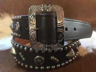 スタッズベルト・30's,40's Style Studded Leather Belt  W34inch